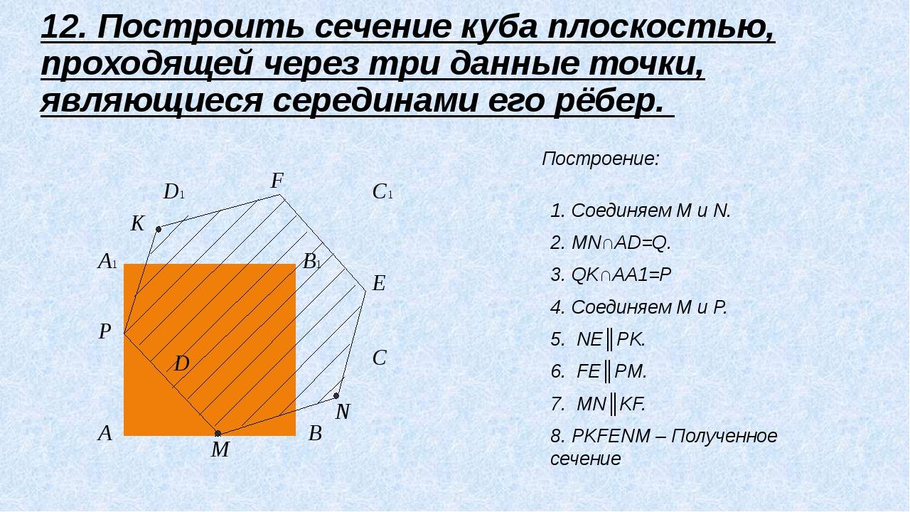 A B C D A1 B1 C1 D1 E P K F M N 12. Построить сечение куба плоскостью, прохо...