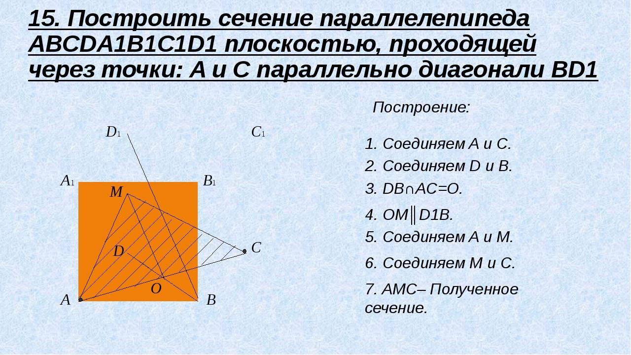 A B C D A1 B1 C1 D1 M O 15. Построить сечение параллелепипеда ABCDA1B1C1D1 п...