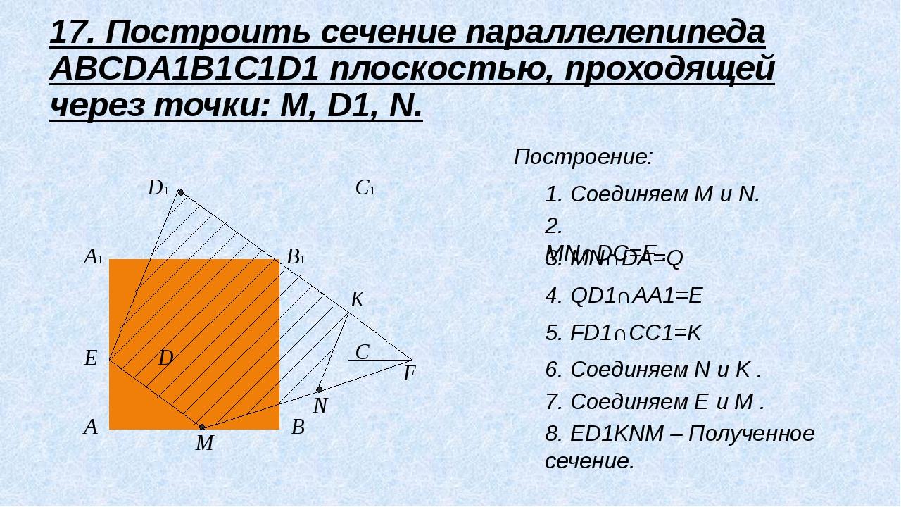 A B C D A1 B1 C1 D1 M E K N Построение: 1. Соединяем M и N. 2. MN∩DC=F . 3....