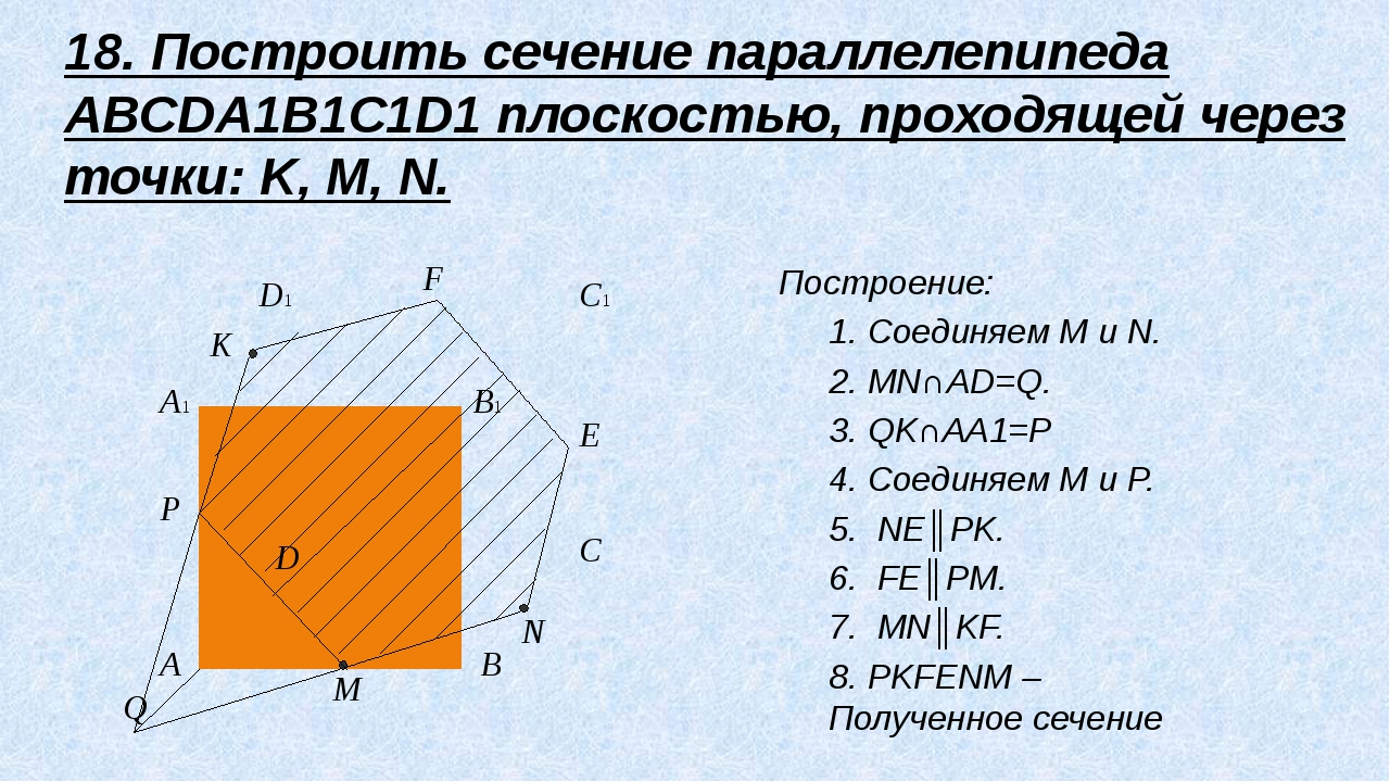18. Построить сечение параллелепипеда ABCDA1B1C1D1 плоскостью, проходящей чер...