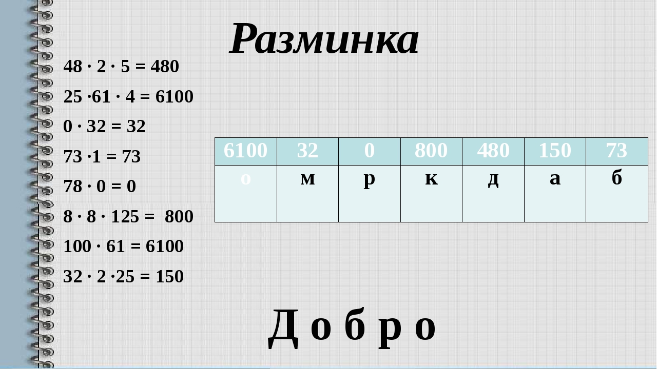 Разминка 48 · 2 · 5 = 480 25 ·61 · 4 = 6100 0 · 32 = 32 73 ·1 = 73 78 · 0 = 0...