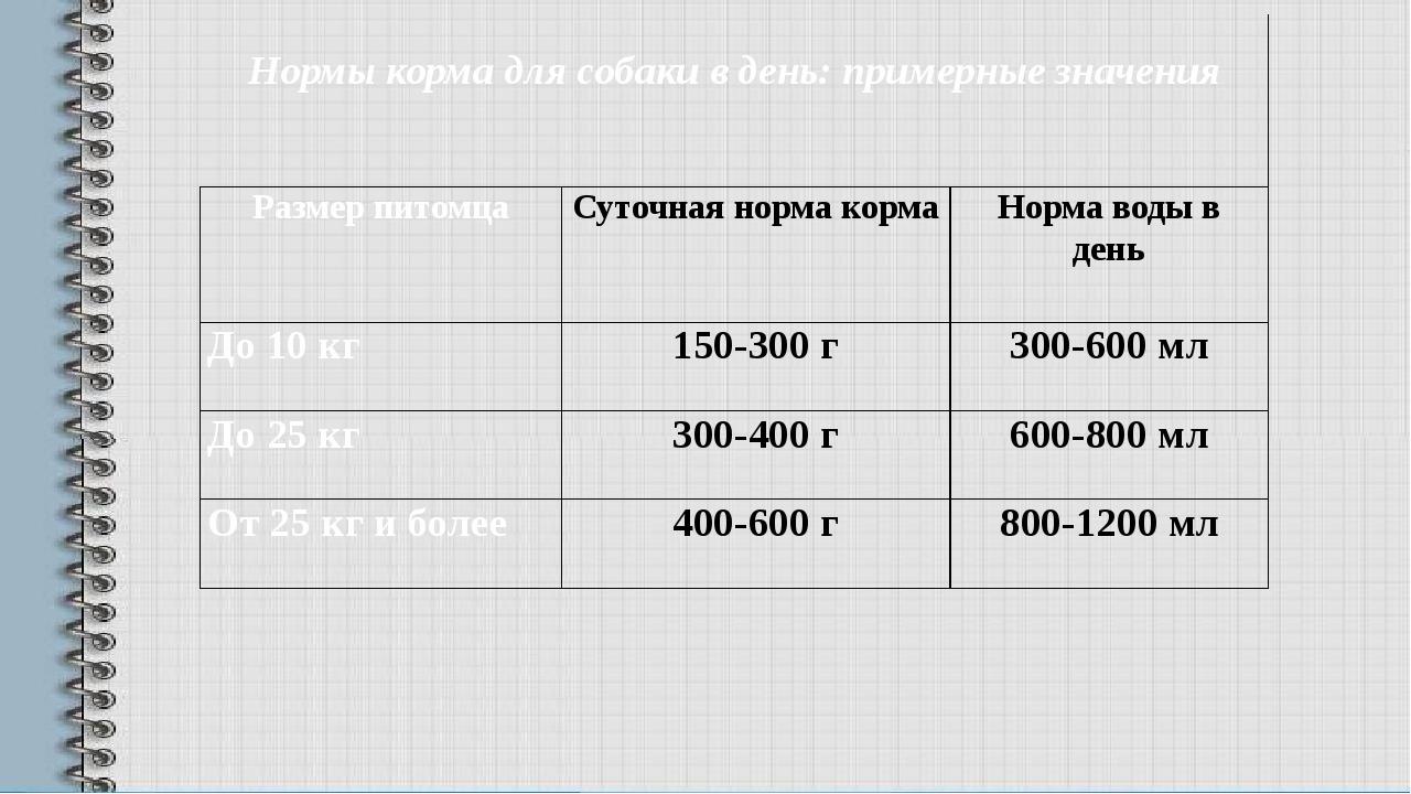 Нормы корма для собаки в день: примерные значения Размер питомца Суточная н...