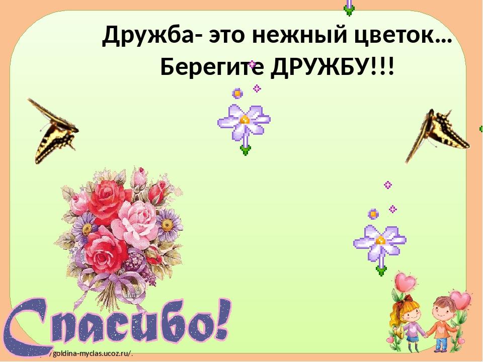 Дружба- это нежный цветок… Берегите ДРУЖБУ!!! http://goldina-myclas.ucoz.ru/.