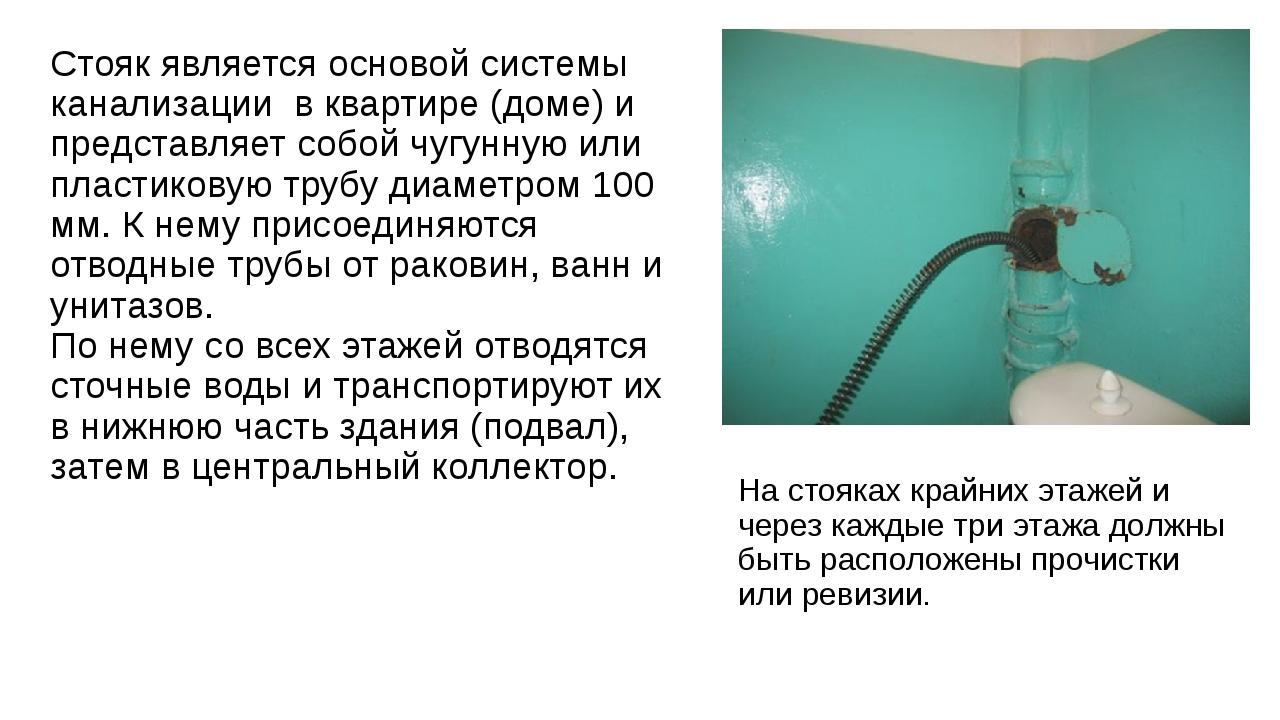 Стояк является основой системы канализации в квартире (доме) и представляет с...