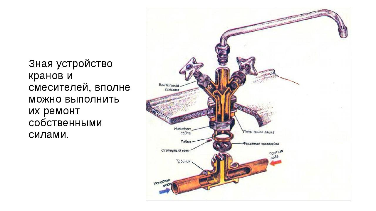 Зная устройство кранов и смесителей, вполне можно выполнить их ремонт собстве...