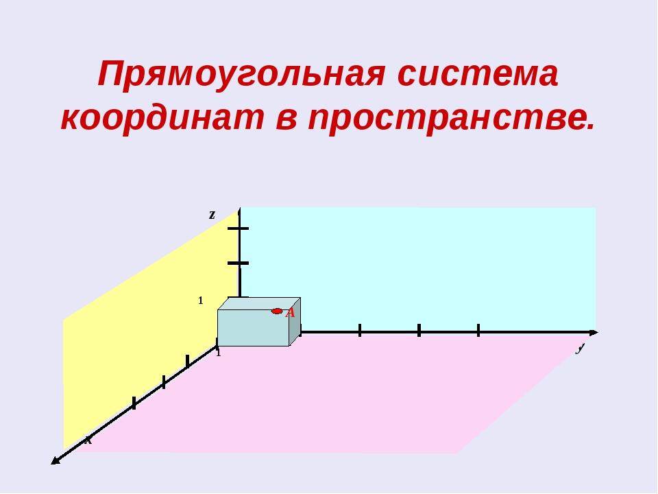 Прямоугольная система координат в пространстве.