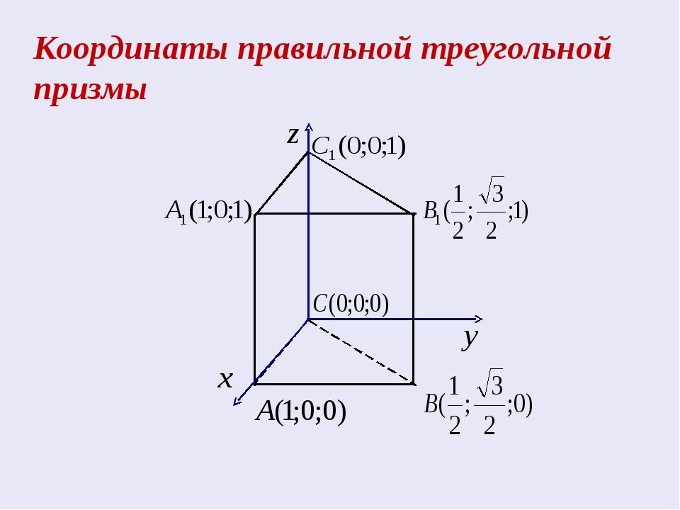 Координаты правильной треугольной призмы