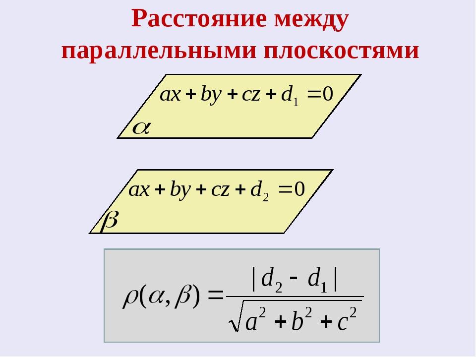 Расстояние между параллельными плоскостями
