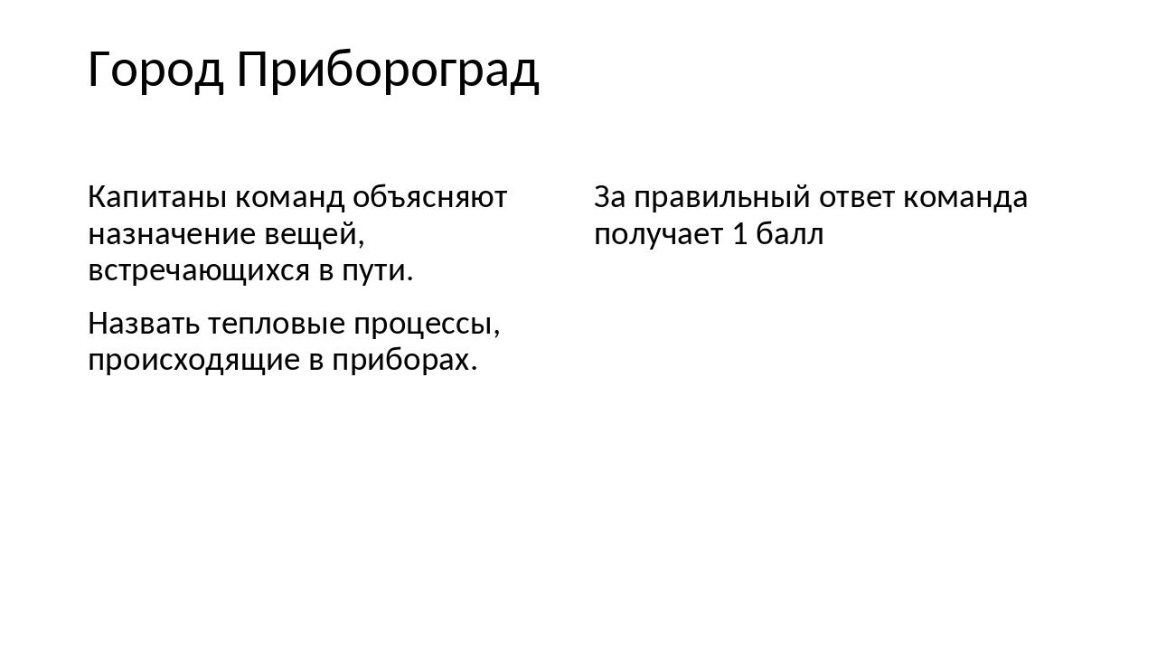 Город Прибороград Капитаны команд объясняют назначение вещей, встречающихся в...