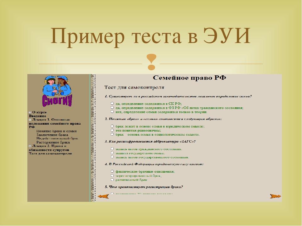 Пример теста в ЭУИ 