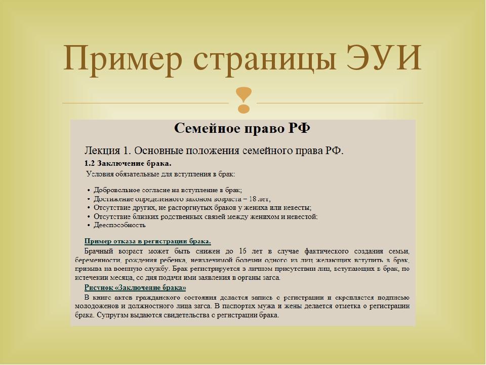 Пример страницы ЭУИ 