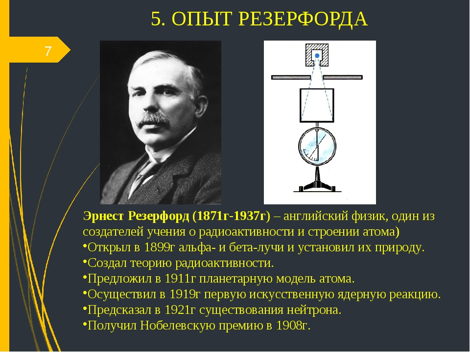 5. ОПЫТ РЕЗЕРФОРДА * Эрнест Резерфорд (1871г-1937г) – английский физик, один...
