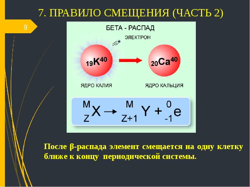 7. ПРАВИЛО СМЕЩЕНИЯ (ЧАСТЬ 2) * После β-распада элемент смещается на одну кле...