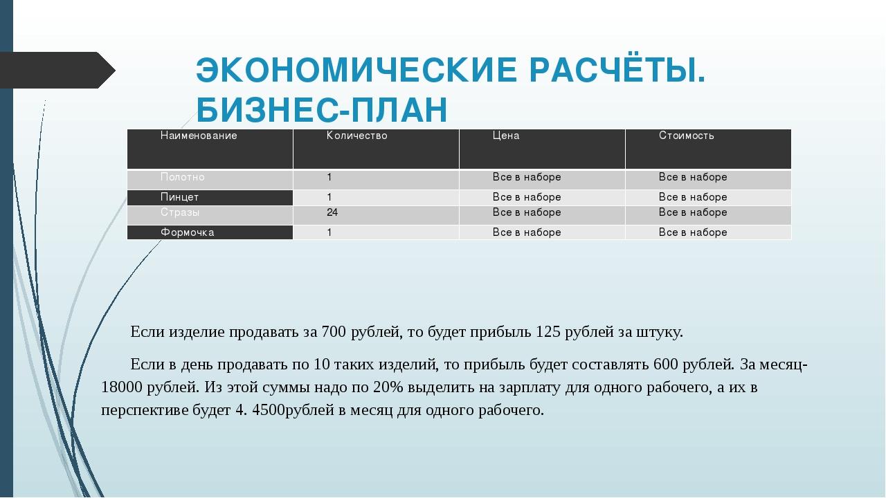 ЭКОНОМИЧЕСКИЕ РАСЧЁТЫ. БИЗНЕС-ПЛАН Если изделие продавать за 700 рублей, то б...