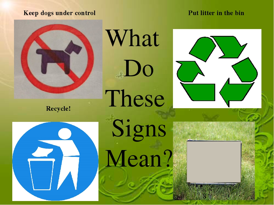 Keep dogs under control Recycle! Put litter in the bin What Do These Signs Me...