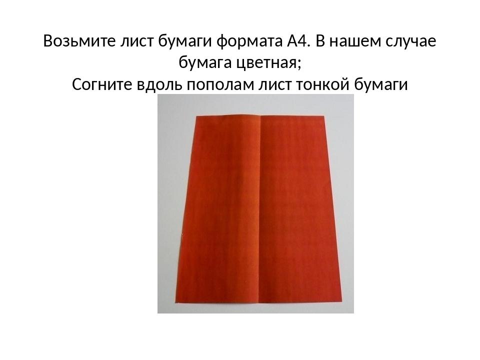 Возьмите лист бумаги формата А4. В нашем случае бумага цветная; Согните вдоль...