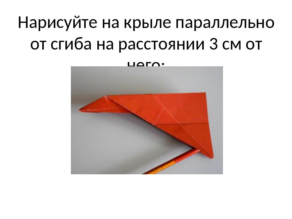 Нарисуйте на крыле параллельно от сгиба на расстоянии 3 см от него;