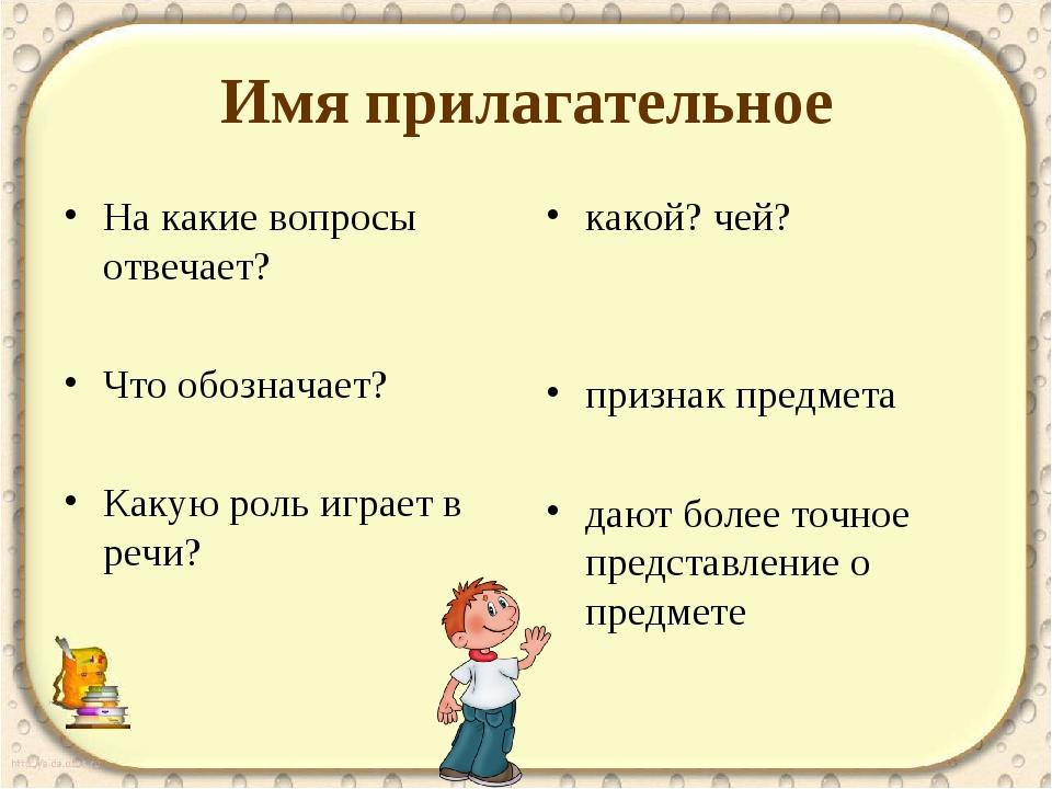 Прилагательное отвечает на вопросы картинки