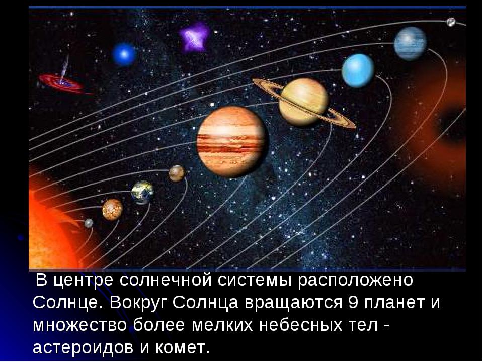 В центре солнечной системы расположено Солнце. Вокруг Солнца вращаются 9 пла...