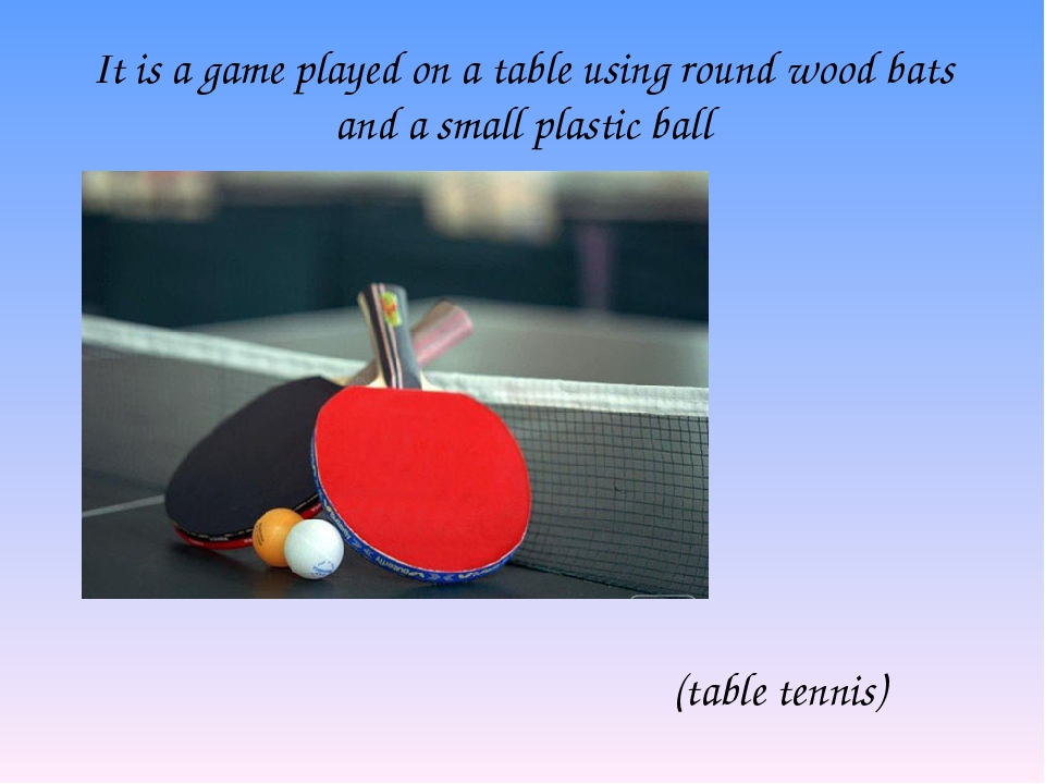 It is a game played on a table using round wood bats and a small plastic ball...