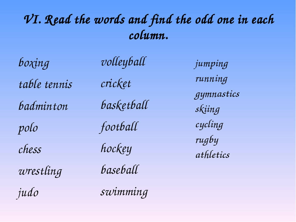 VI. Read the words and find the odd one in each column. boxing table tennis b...