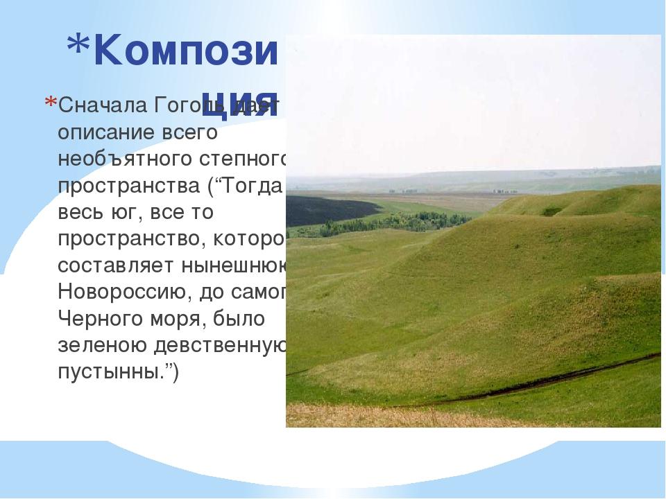 Композиция Сначала Гоголь дает описание всего необъятного степного пространст...