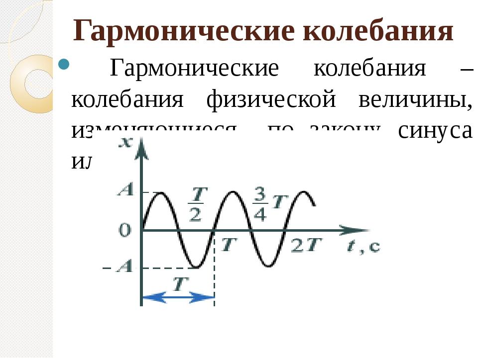 Гармонические колебания Гармонические колебания – колебания физической величи...