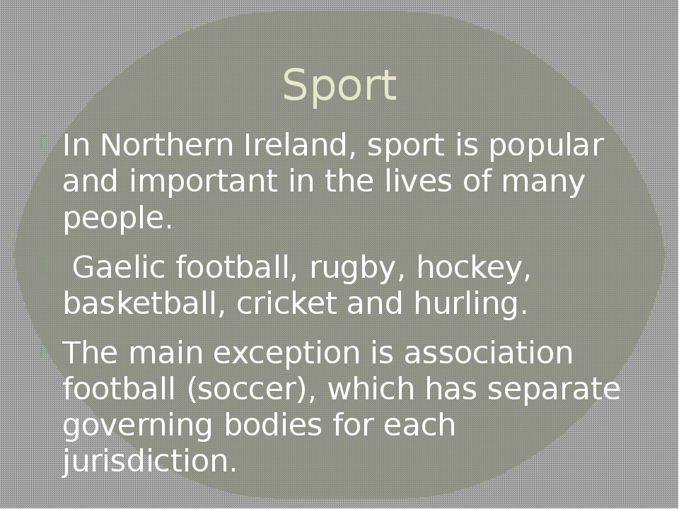 Sport In Northern Ireland, sport is popular and important in the lives of man...