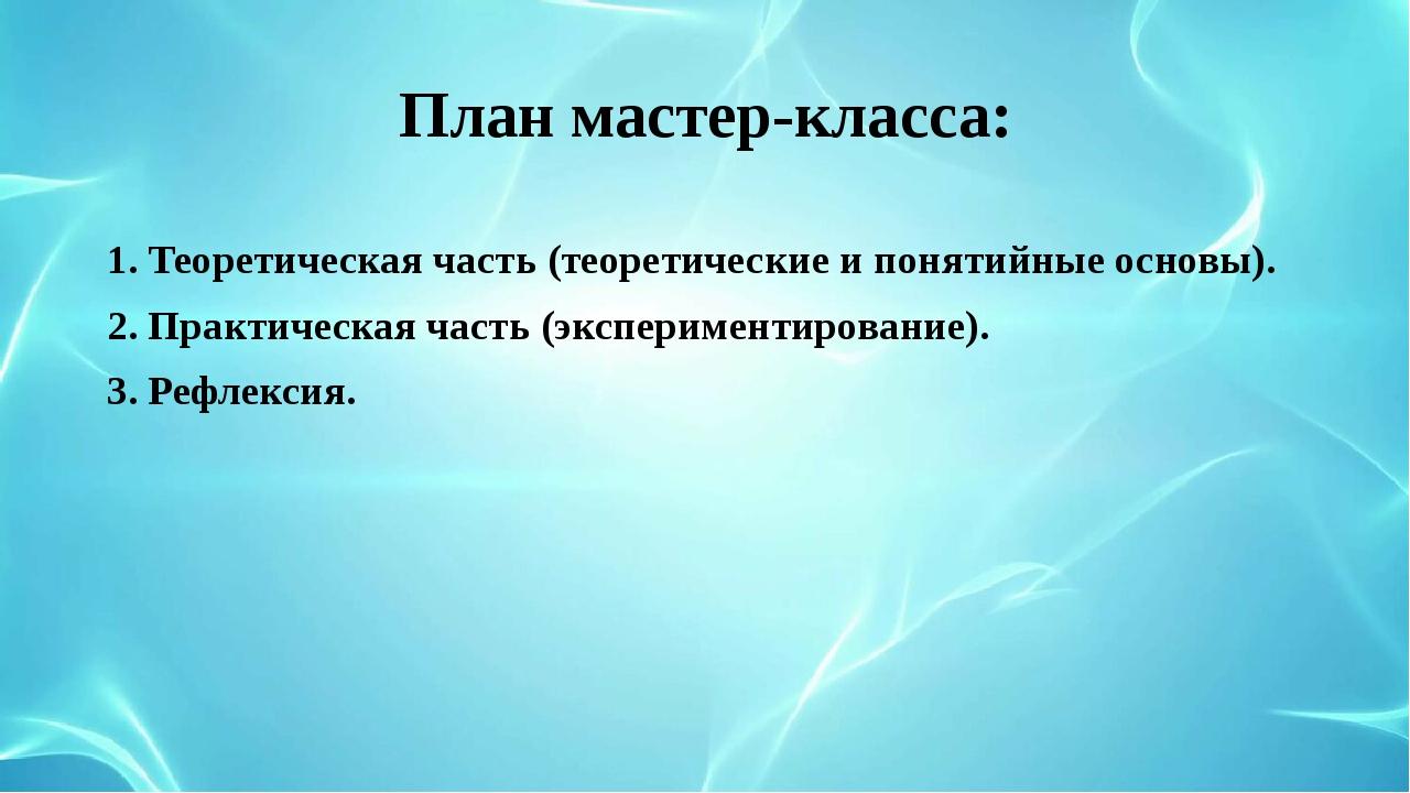План мастер-класса: 1. Теоретическая часть (теоретические и понятийные основы...