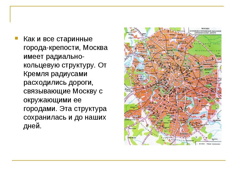 Как и все старинные города-крепости, Москва имеет радиально-кольцевую структу...
