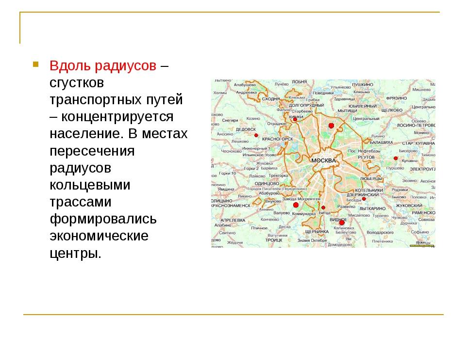 Вдоль радиусов – сгустков транспортных путей – концентрируется население. В м...