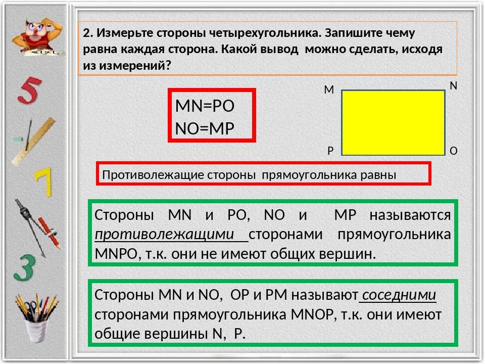 M N O P MN=PO NO=MP Стороны MN и PO, NO и MP называются противолежащими сторо...