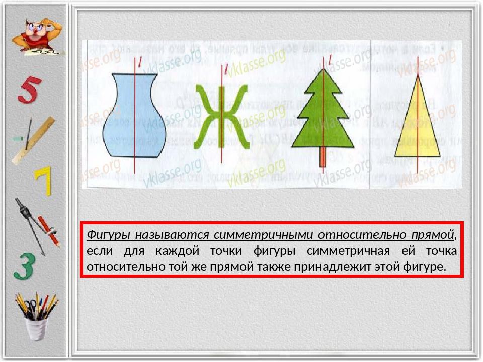 Фигуры называются симметричными относительно прямой, если для каждой точки фи...