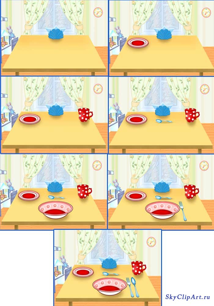 Накрывание на стол в детском саду в картинках