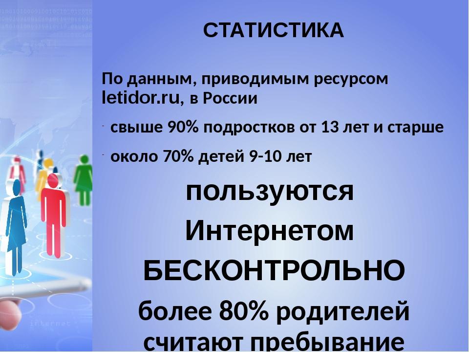 СТАТИСТИКА По данным, приводимым ресурсом letidor.ru, в России свыше 90% подр...