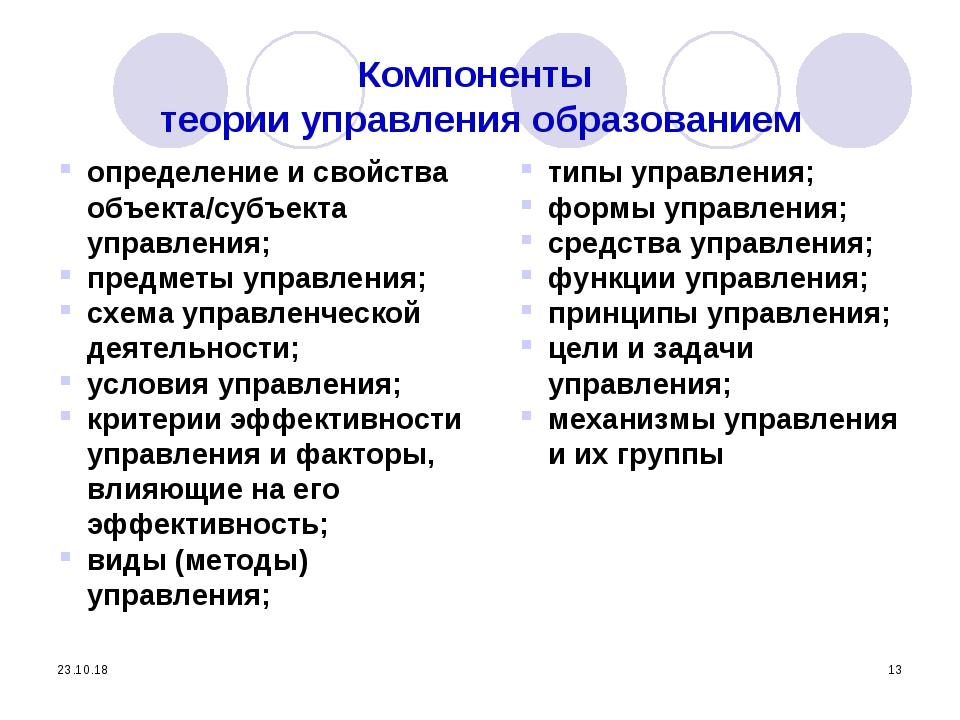 * * Компоненты теории управления образованием определение и свойства объекта/...