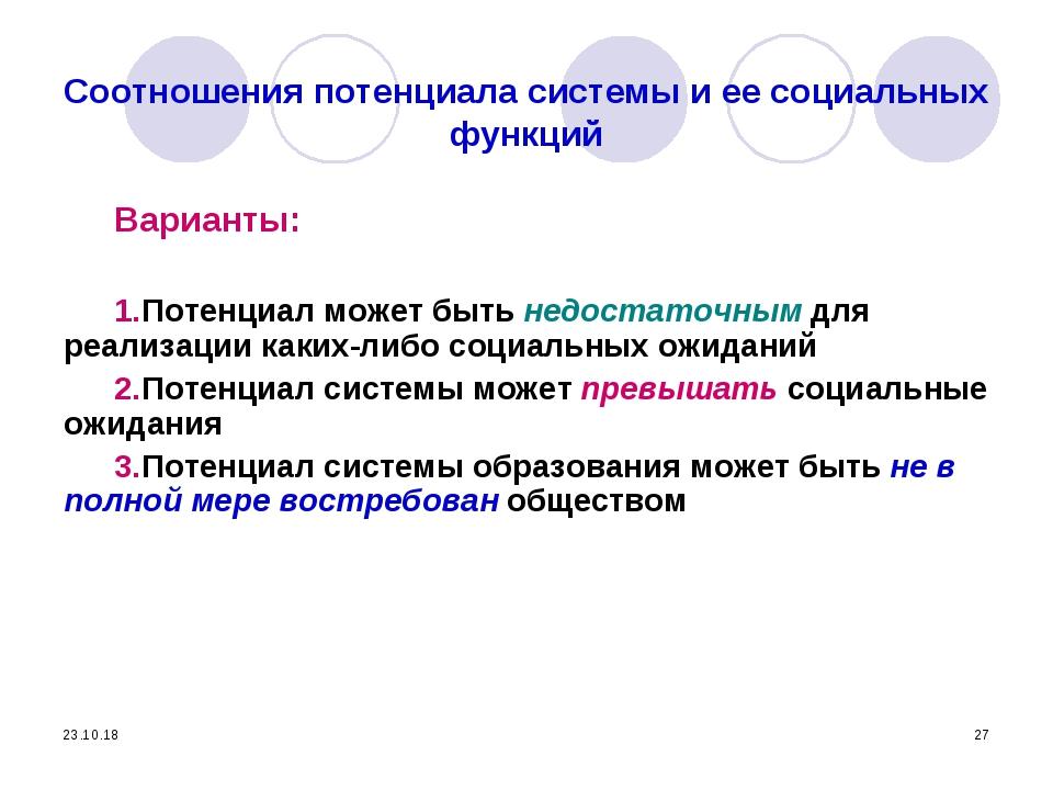 * * Соотношения потенциала системы и ее социальных функций Варианты: Потенциа...