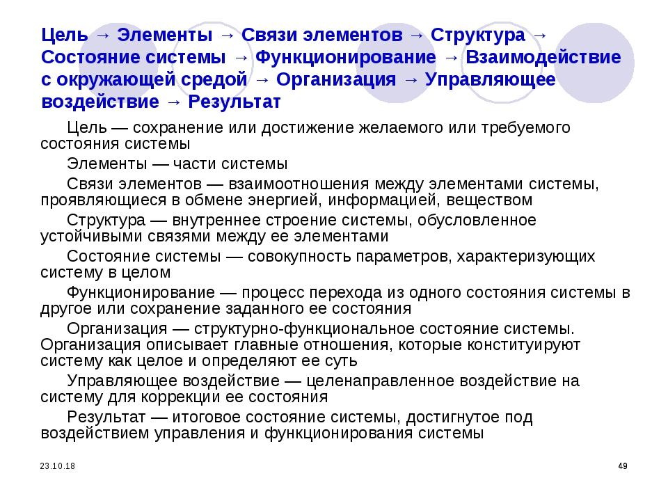 * * * Цель → Элементы → Связи элементов → Структура → Состояние системы → Фун...