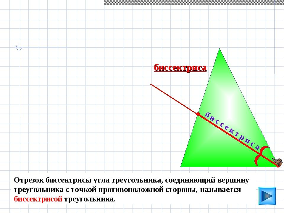 биссектриса б и с с е к т р и с а Отрезок биссектрисы угла треугольника, соед...