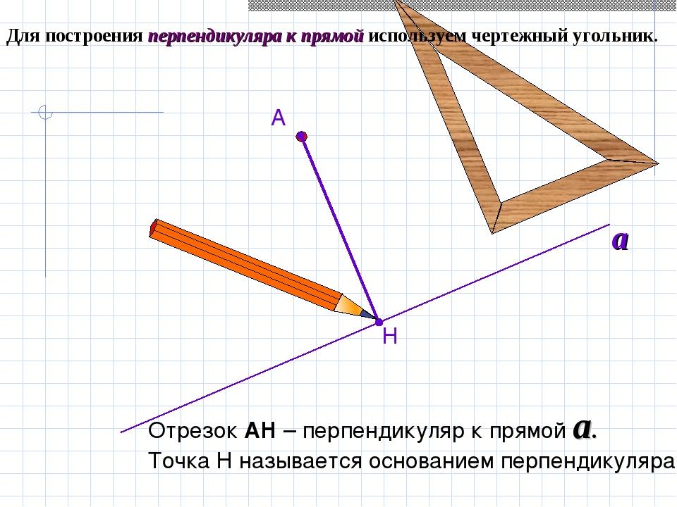 Для построения перпендикуляра к прямой используем чертежный угольник. Н А Отр...