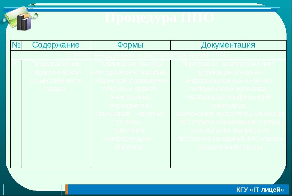 Процедура ППО № Содержание Формы Документация 3 этап:внедрение и распростране...