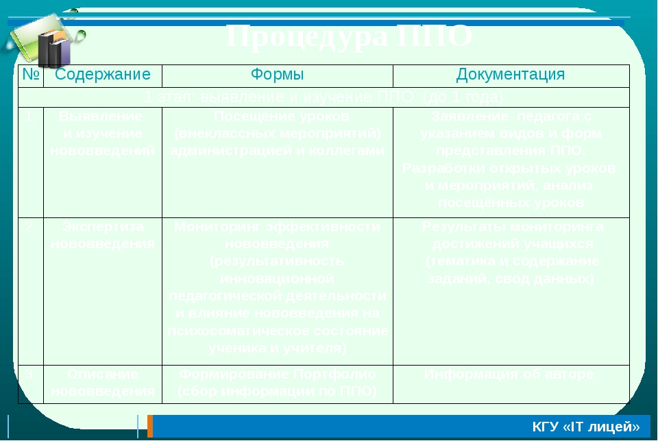 Процедура ППО № Содержание Формы Документация 1этап:выявление и изучениеППО(д...