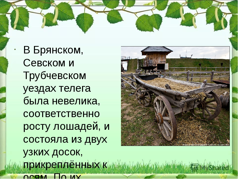В Брянском, Севском и Трубчевском уездах телега была невелика, соответственн...