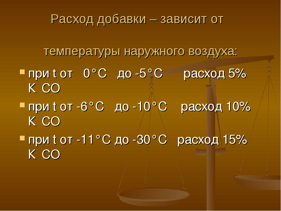 Расход добавки – зависит от температуры наружного воздуха: при t от 0°С до -5...