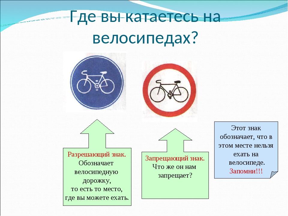Где вы катаетесь на велосипедах? Разрешающий знак. Обозначает велосипедную до...