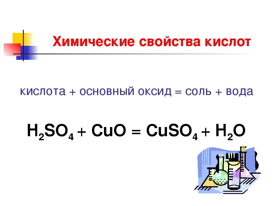 Химические свойства кислот кислота + основный оксид = соль + вода H2SO4 + CuO...