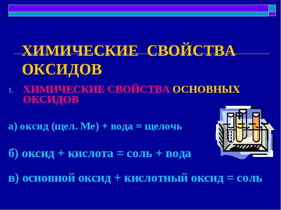 ХИМИЧЕСКИЕ СВОЙСТВА ОКСИДОВ ХИМИЧЕСКИЕ СВОЙСТВА ОСНОВНЫХ ОКСИДОВ а) оксид (ще...