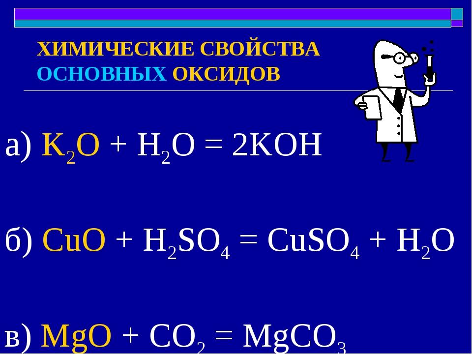 ХИМИЧЕСКИЕ СВОЙСТВА ОСНОВНЫХ ОКСИДОВ а) K2O + H2O = 2KOH б) CuO + H2SO4 = CuS...