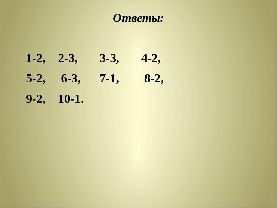 Ответы: 1-2, 2-3, 3-3, 4-2, 5-2, 6-3, 7-1,  8-2,  9-2, 10-1.