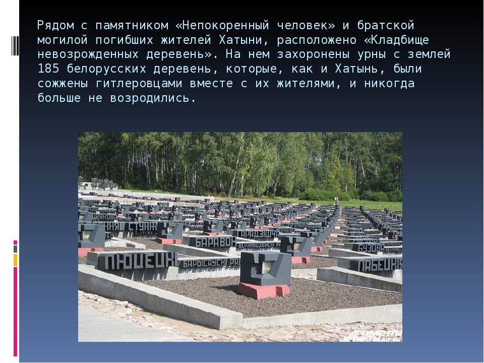 Рядом с памятником «Непокоренный человек» и братской могилой погибших жителей...